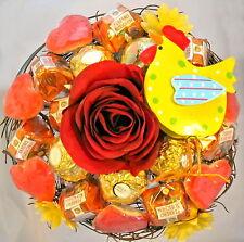 Rocher-Oster-Strauß mit Hahn Praline Schokolade Metall Ostern Frühling Huhn