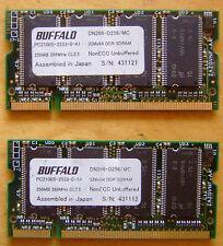 512 MB RAM 2X Buffalo 256MB PC2100 DDR-266MHz 200-Pin