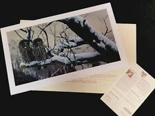 Rod Frederick -- SHADOWS OF DUSK (gray owl) S/# Lithograph Edition 1500 NIF 1988