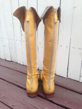 CHANEL 2001A Patent Leather Over the Knee OTK Cuffed Boots 41 Yellow/Taupe w/Box