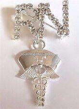 Silver Crystal RN Caduceus Nursing Pin Brooch Plated Nurse Gift Cap USA Seller