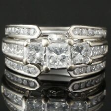 Solid 14K White Gold 2.31 ct 3 Stone Diamond Wedding, Estate Engagement Ring Set