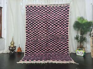Moroccan Handmade Beni Ourain Wool Rug 5'5x8'2 Checkered Berber Pink Black  Rug