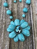 Turquoise Stone Flower Necklace and Earring Set