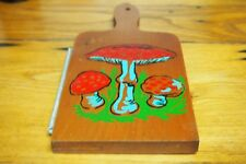 Vintage Wooden Cheese Cutting board with Cutter – Mushroom design