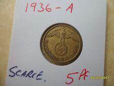 German 5 Reichspfennig 1936-A Rare Brass Third Reich Coin WW2 pf pfennig