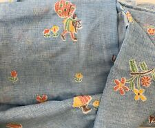 Fabric Remnant Vintage Holly Hobbie Fabric Blue  - Red -Green - Yellow