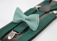 Sage Green Cotton Bow tie + EMERALD GREEN Elastic Suspenders Men Youth or Boy