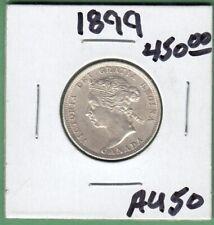 1899 Canada 25 Cents Silver Coin - AU-50