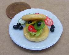1:12 Scale Large Hand Made Salad Waffle On A 3.5cm Ceramic Plate Dolls House