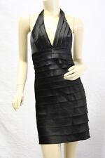 $200 BCBG BLACK (PCS64536) SATIN TIERRED LAYER HALTER DRESS NWT 12