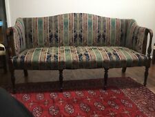 Vintage Sheraton Sofa Upholstered in Blue, Green, and Burgundy