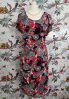 *Debenhams* Navy Red Retro Short Sleeves  Stretchy Midi Tea Dress Plus Size 16