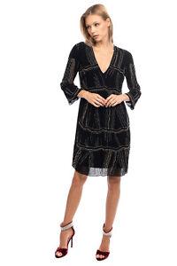 RRP€270 PATRIZIA PEPE SERA Crepe A-Line Dress Size 42 M Beads Embellished V Neck