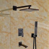 "Oil Rubbed Bronze 8"" Rain Shower Faucet Tub Mixer Tap W/Hand Sprayer Wall Mount"