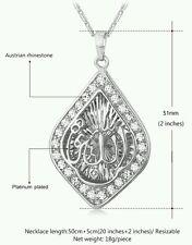 "Islamic""Allah""Platinum Plating Rhineston High quality  Polished Pendant necklace"