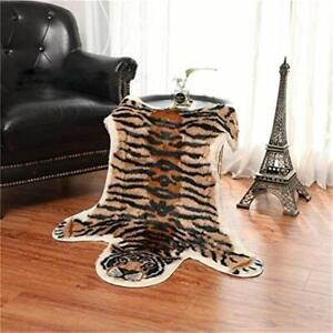 Tiger Print  Area Rugs Animal Mat Floor Faux Fur Rug Carpet Blanket Washable New