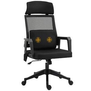 Massage-Bürostuhl mit Massage Lendenwirbelstütze Kopfstütze Chefsessel Schwarz