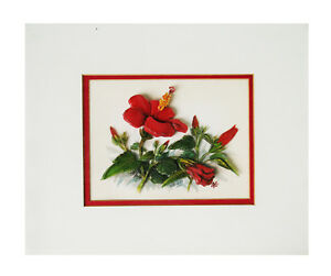 Art work of a Hibiscus, 3 dimensional, Artist M. Powell 1982
