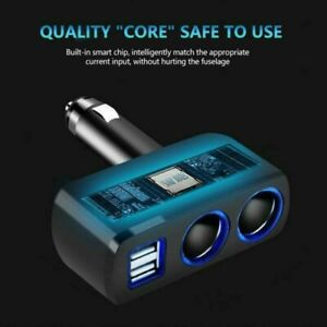 Dual USB Car Charger Adapter Cigar Lighter Socket Fast Charging Power Splitter