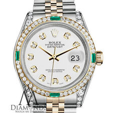 Rolex Steel 18K Gold 26mm Datejust White Diamond Accent Dial with Emeralds
