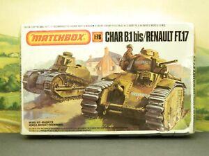 1:76 Kit Old 1983 Matchbox PK-176 2 TANK DIORAMA CHAR B.1 bis / RENAULT FT.17