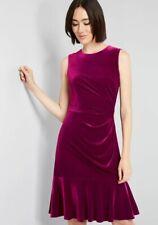 Eliza J Fuchsia Velvet Fit & Flare Ruffle Hem Dress size 6 NWT