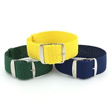 Brazilian 3 Pack Perlon Braided Woven Watch Strap/Band With Steel Buckle 22mm