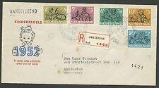 FDC E11 Kinderzegels 1952 getypt adres + R-strook