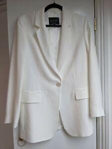 Massimo Dutti Blazer Women's White/Ivory UK Size 10