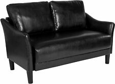 Asti Upholstered Loveseat in Black Leather [SL-SF915-2-BLK-GG] New