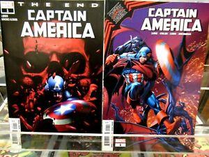 CAPTAIN AMERICA #1 The End & CAPTAIN AMERICA #1 Blackened Blue MARVEL COMICS NM