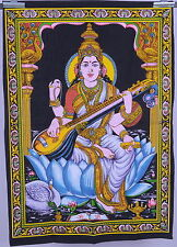 Hindu Goddess Saraswati Sequin Wall Hanging Tapestry Batik Ethnic Decor Wall Art