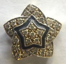 UNIQUE 18K SOLID YELLOW GOLD VINTAGE STAR SHAPED PENDANT WITH GENUINE DIAMONDS