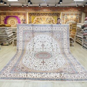 White Handcraft Large Silk Carpet 9x12ft Living Room Hand Knotted Area Rug 014C