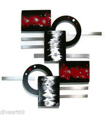 Red black Modern Abstract wall sculpture hanging 24x22 wood with metal Wall Art