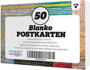 50 Blanko leere Postkarten Adressfeld weiss A6 DIY selber gestalten bemalen Set