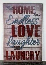 WOOD LAUNDRY ROOM SIGN LOVE LAUGHTER SIGNS HANDMADE HOME WALL DECOR 0527