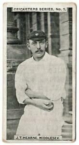 Rutter & Co. - 'Cricketers Series' (1901) - Card #1 - J.T. Hearne (Middlesex)