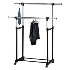 Steel Rolling Coats Rack Double Rail Bar Hanging High Quality Heavy Duty Hanger
