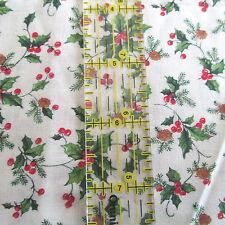 "Cranston Christmas cotton fabric holly pinecones on cream 3/4 yard 27""x42"""