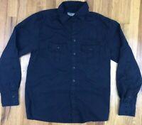 OAKLEY Men's Black Solid Black L/S Button Up Shirt S Small 1975 Logo Pocket