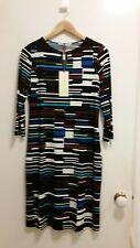 Jane Lemerton Broken Stripe Print Wrap Front Jersey Dress, size 10