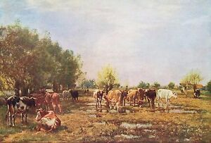 MARK W. FISHER 1877 Oil Painting FEN MEADOWS Vintage Classic Art 1930 Book Print