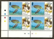 ASCENSION IS 2008 ANIMALS EGGS GREEN TURTLE Lower Left Corner Block 4 MNH