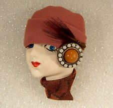 LADY HEAD FACE Porcelain-Look Resin pin brooch Figural Classic Browns handmade