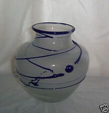 Organic Threads Elegant Hand Blown Art Glass Vase Artist Signed