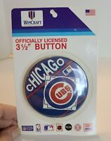 "Vintage Chicago Cubs Pin 3.5"" Pinback Button New On Card Wincraft"