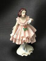 Vintage Dresden Handpainted Porcelain Pink Lace Ballerina Figurine Germany