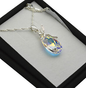 925 Sterling Silver Necklace Elf/Fairy made with Swarovski Crystals Pear 22mm